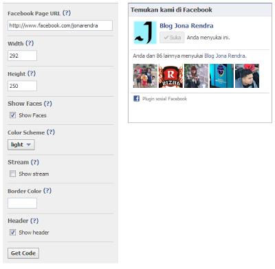 Halaman Isian Format Widget Kotak Like Facebook - JOna Rendra